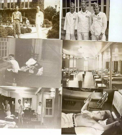 Six pictures of Army life - Elio outside with a friend, three men in uniform, Elio at a window, an empty barracks, four men changing in the barracks, a man reading on a bunk.